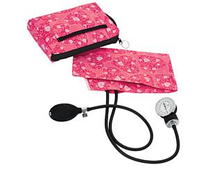Premium Aneroid Sphygmomanometer With Carry Case, Adult, Hot Pink Hearts, Print