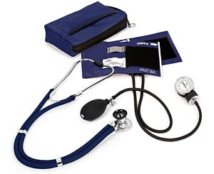 Aneroid Sphygmomanometer / Sprague-Rappaport Stethoscope Kit, Adult, Navy