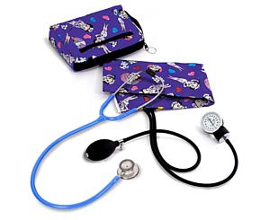 Aneroid Sphygmomanometer / Clinical Lite Stethoscope Kit, Adult, Betty Boop Colored Hearts, Print