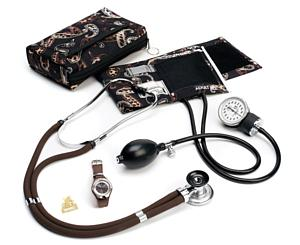 Aneroid Sphygmomanometer / Sprague-Rappaport Stethoscope Kit with Watch and Badge Tac, Adult, Paisley, Print