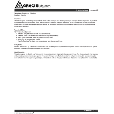 Gracie Bullyproof Detailed Lesson Printouts