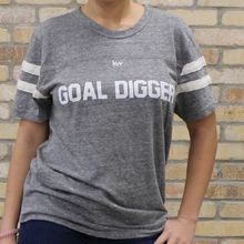 Goal Digger - gray football tee